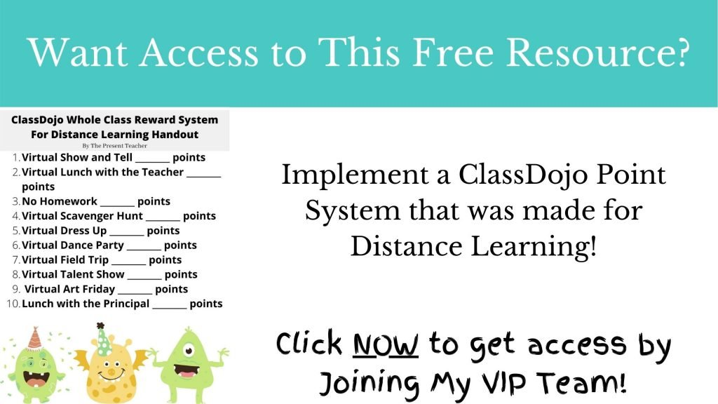 ClassDojo Reward System for Distance Learning