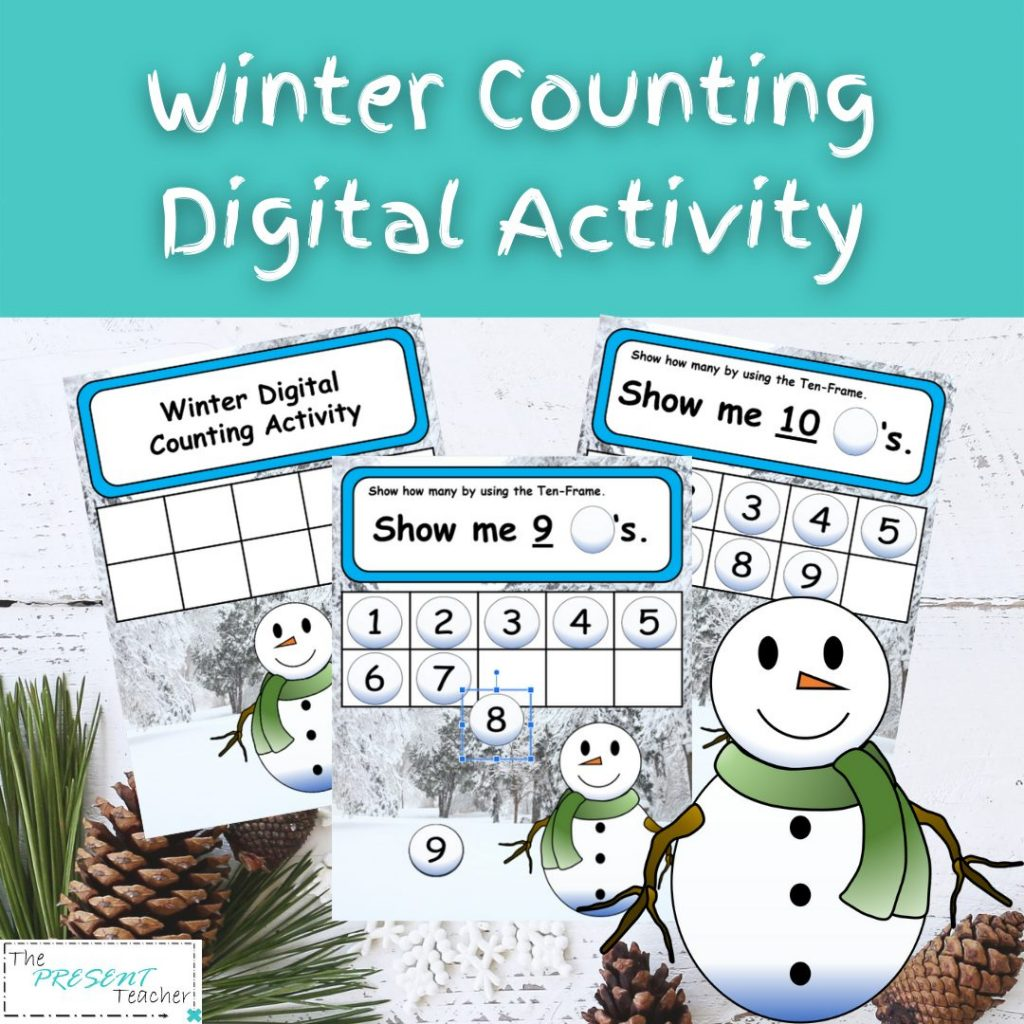 """Sneezy the Snowman"" Digital Counting Activity. Perfect for Winter and one to one correspondence using a ten frame. @thepresentteacher"