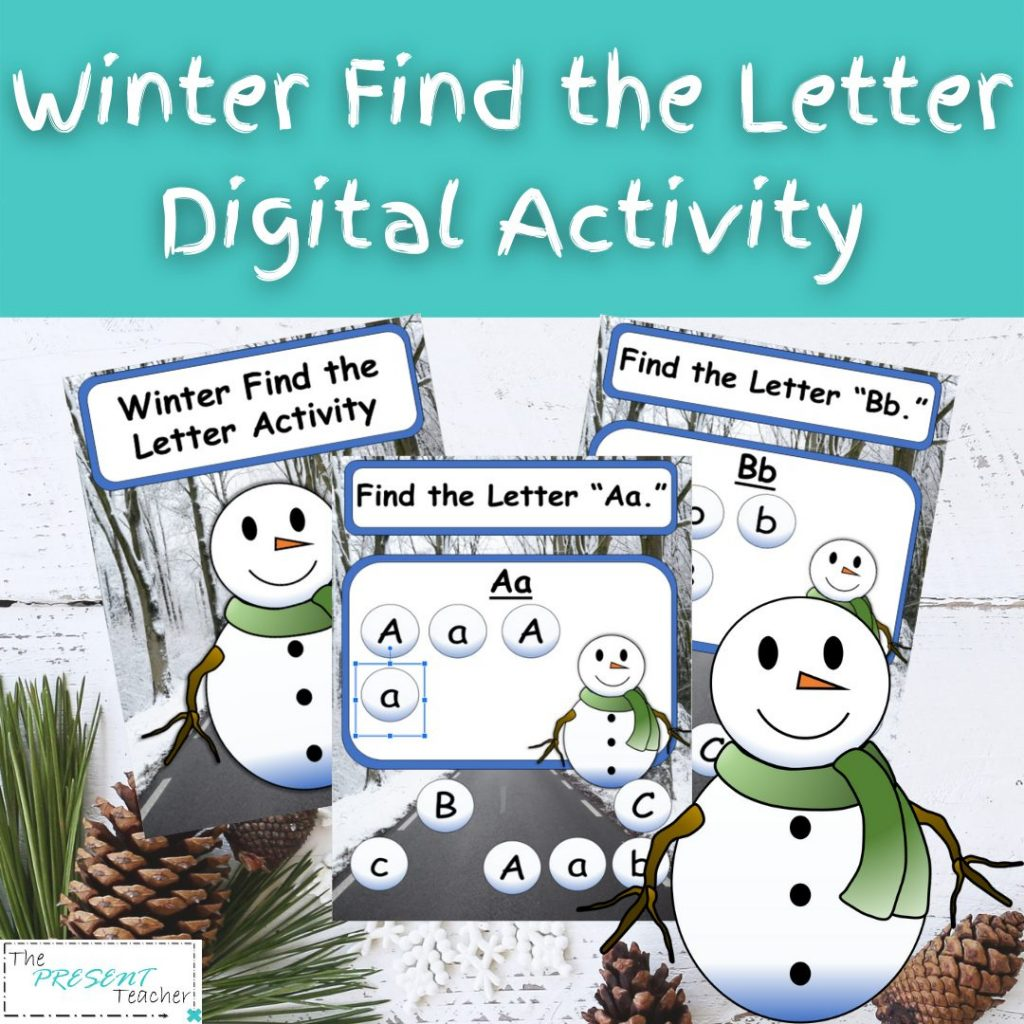"Snowman Winter Digital Letter Recognition Activity. Perfect for Distance or Hybrid Learning or the book ""Sneezy the Snowman"" @thepresentteacher"
