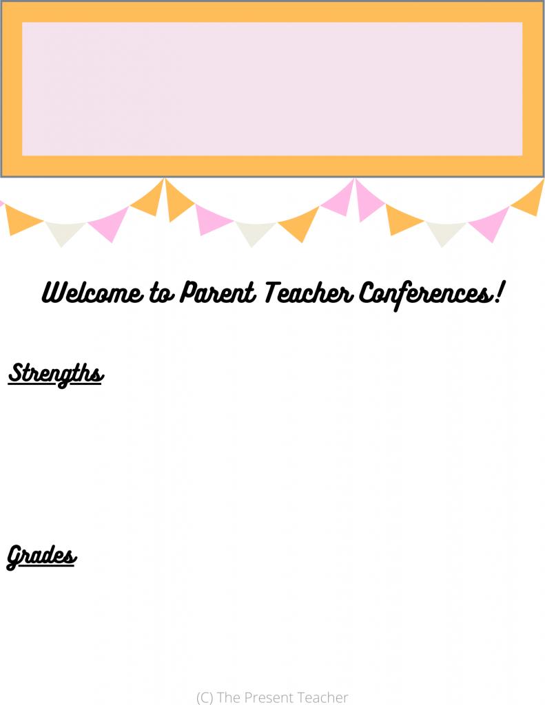 Parent Teacher Conference Form @thepresentteacher